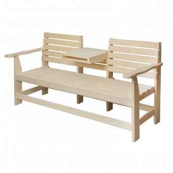 Скамейка с выдвижным столиком, липа 1600*600*900 добрая баня