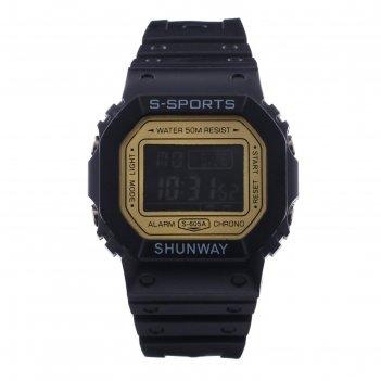 Часы наручные электронные shunway s-605a, d=4 см, с будильником, микс