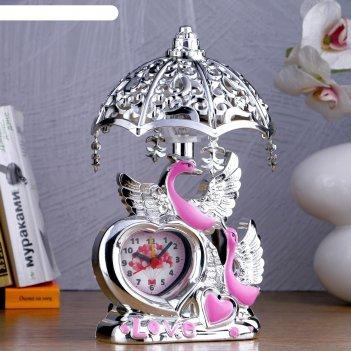 Часы-светильник лебедь, 23х13х13 см, микс