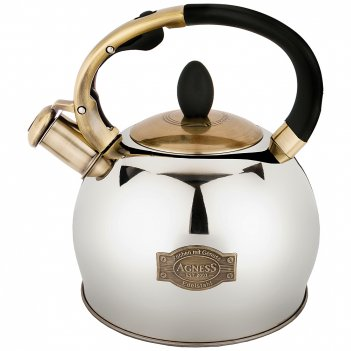 Чайник agness со свистком 3,0 л термоаккумулирующее дно, индукция (кор=6шт