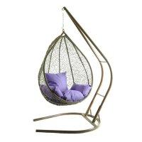 Подвесное кресло на стойке алания, коричневое/фиолетовая