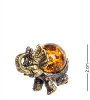 Am-1291 фигурка слон (латунь, янтарь)