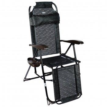 Кресло-шезлонг, кш3/5, 82 x 59 x 116 см, венге, с подножкой и полкой под с