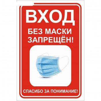 Наклейка 200*300 вход без маски запрещен, цвет красно-белый