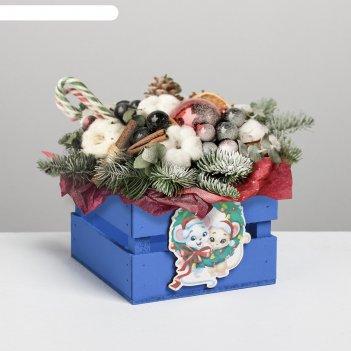 Ящик реечный с декором сг 2020, синий, 13 х 13 х 9 см