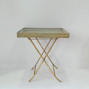 Столик складной  декоративный,  золотая патина