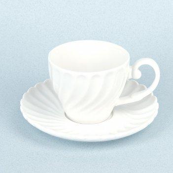 Чашка с блюдцем маршмеллоу v=180мл. (min6) (фарфор) (транспортная упаковка