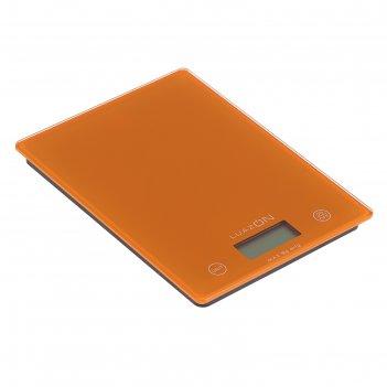 Весы электронные кухонные luazon lvk-702 до 5 кг, стекло, оранжевые