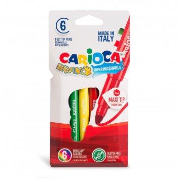 Фломастеры maxi 6 цветов carioca bravo 6.0 мм, картонный конверт 42767