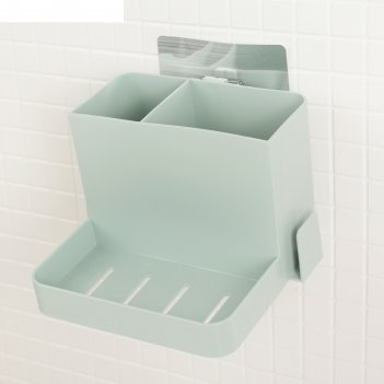 Держатель для зубных щеток, пасты, мыла, 2 стакана, на липучке 14.5x14.8x1