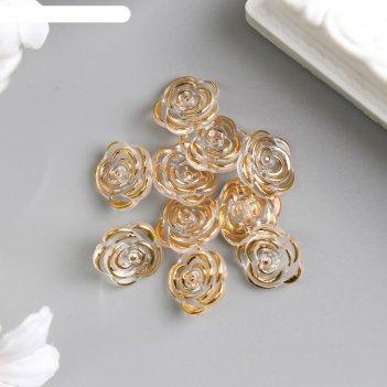 Декоративный элемент пуговица роза золото 13 мм