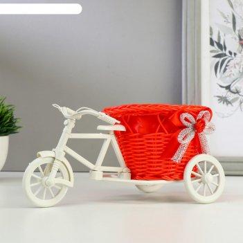 Корзина декоративная велосипед с красным вазоном, d=11.5 см