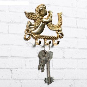 Ключница ангел с подковой, 10 х 8 см