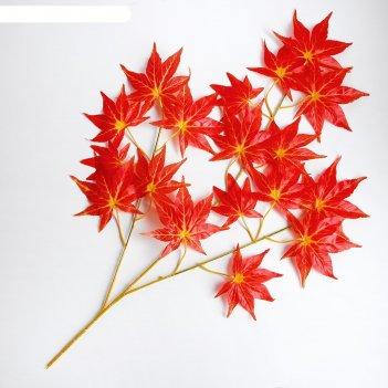 Декор листья на ветке, цвет красный