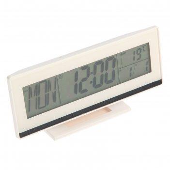 Часы-будильник luazon lb-08, подсветка срабатывает от хлопка, белый