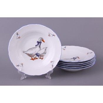 Набор суповых тарелок из 6 шт. гуси диаметр=23 см