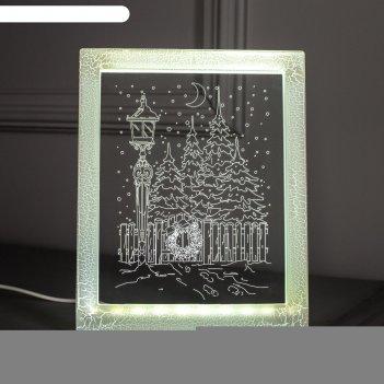 Рамка светящаяся, фонарь 13,5 х 17 см, usb, 5v, 10 led, белый
