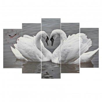 Часы настенные модульные «пара лебедей. хром», 80 x 140 см