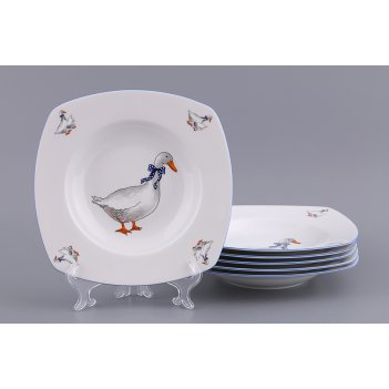 Набор суповых тарелок тетра гуси из 6 шт.23*23 с...