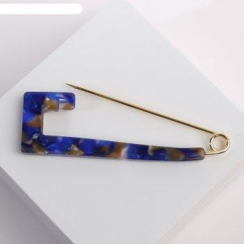 Булавка пластик квадрат мозаика, цвет тёмно-синий