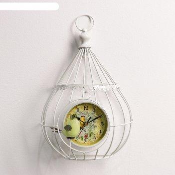Часы настенные, серия: животный мир, птичка в клетке, d=12 см