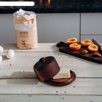Масленка сибирский кедр, из натурального кедра, 13,5x9x2 см, цвет шоколадн