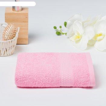 Полотенце махровое гладкокрашенное эконом 70х130 см, розовый, хлопок 100%,