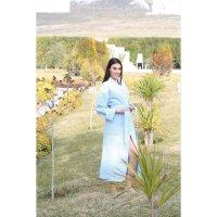 Халат женский вафельный philippus, размер s/m, цвет голубой, 270 г/м2