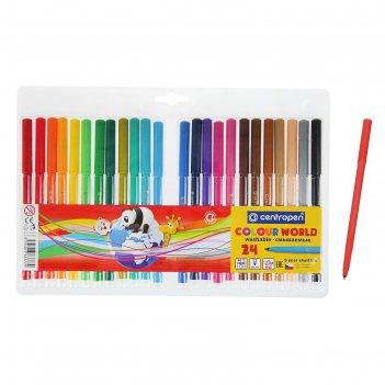 Фломастеры centropen colour world, 24 цвета, в блистере, линия 1.0 мм