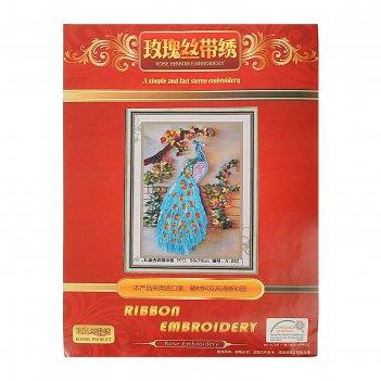 Набор для вышивания лентами павлин размер основы 50*70 см