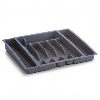 Лоток для столовых приборов zeller, раздвижной 28х48х38 см, серый