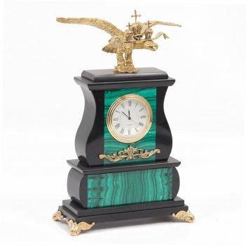 Часы двуглавый орел малахит бронза