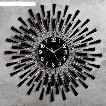 Часы настенные, серия: ажур, чёрные лучики, маленькие кристаллы, d=68 см,