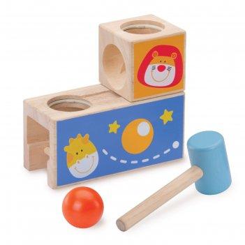 Логическая игрушка-стучалка с шариком сафари