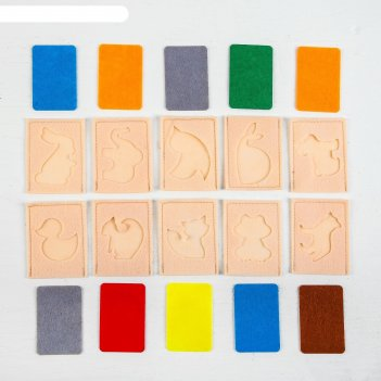 Развивающий набор карточек мир животных из фетра,10 штук.