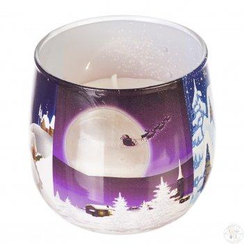 Свеча зимний пейзаж высота 7 см, диаметр 8 см (аромат рождественского пиро