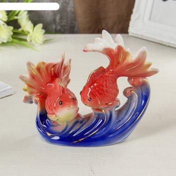 Сувенир керамика золотые рыбки в море 11х13,5х7 см