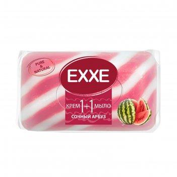 Крем+мыло exxe 1+1 сочный арбуз розовое полосатое, 80 г