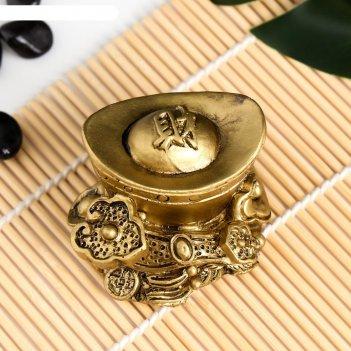 Сувенир полистоун золотой слиток с жезлом жуи 4х6х4,8 см
