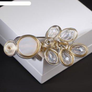 Булавка арабика павлин, 8,5см, цвет белый в серебристо-золотом