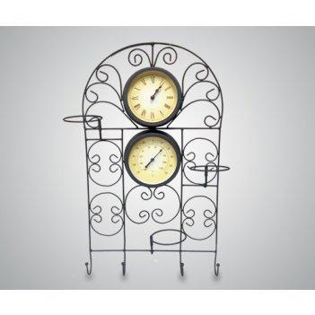 Часы настенные с термометром и подставкой для цветов