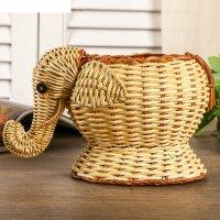 Кашпо плетеное слон из папоротника10х10х18 см