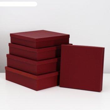 Набор коробок 5 в 1 бордовая сетка, 34 х 34 х 9 - 26 х 26 х 5 см