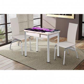 Обеденный стол ника, поворотно-раскладной с ящиком, стекло, подстолье беле