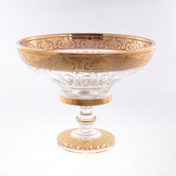 Фруктовница на ножке золото bohemia max crystal 30 см