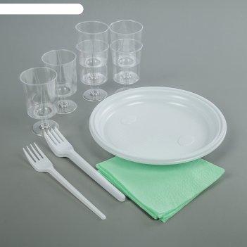 Набор одноразовой посуды праздничный, 24 предмета: 6 вилок, 6 рюмок, 6 тар