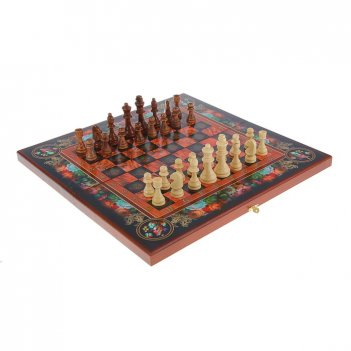 Подарочный набор игр шахматы нарды, шашки с доской цветы (sa-sh-010)