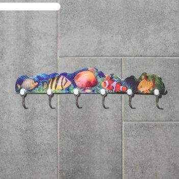 Вешалка на 6 крючков ассорти цвет микс