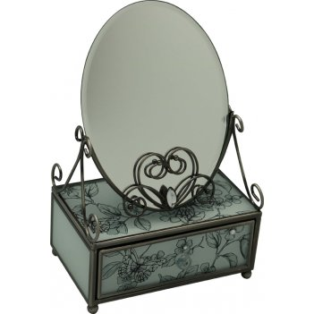 Зеркало со шкатулкой jardin dete эскиз, cталь, стекло,13 х 21