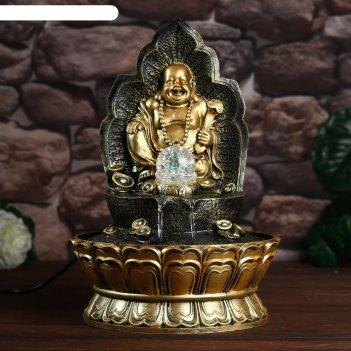 Фонтан настольный от сети, подсветка хотей на троне 40х28х28 см